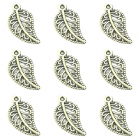 20 Antique Silver 11x19mm Leaf Charms